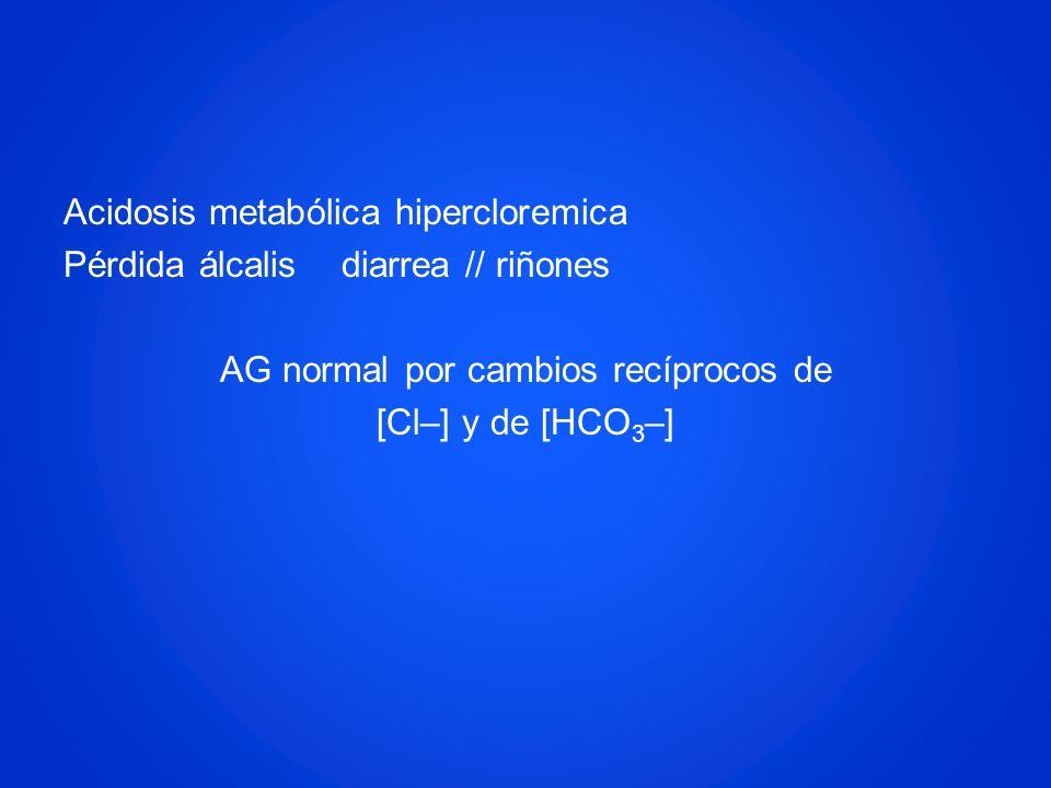 Acidosis metabólica hipercloremica Pérdida álcalis diarrea // riñones AG normal por cambios recíprocos de [Cl–] y de [HCO3–]
